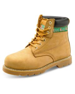 Click Goodyear Welted SBP Full Safety Steel Toe Cap Leather Boots Tan