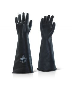 "Click Industrial Natural Rubber Medium Weight 17"" Gauntlet Gloves Black"