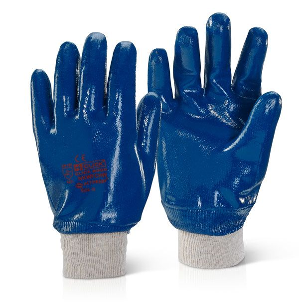 Click 2000 Nitrile Knit Wrist Fully Coated Heavyweight Gloves Blue