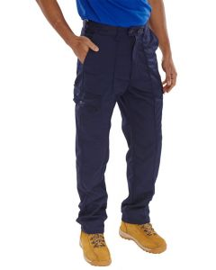 Super Click Workwear Poly Cotton Trousers Navy