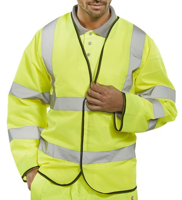 B-Seen Hi-Vis Long Sleeve Jerkin Saturn Yellow