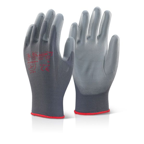 Click Puggy PU Coated Gloves Grey