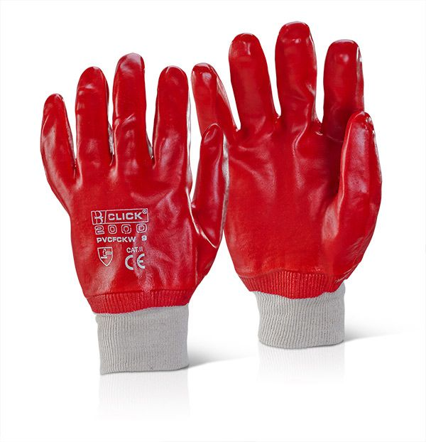 Click PVC Fully Coated Gloves Red