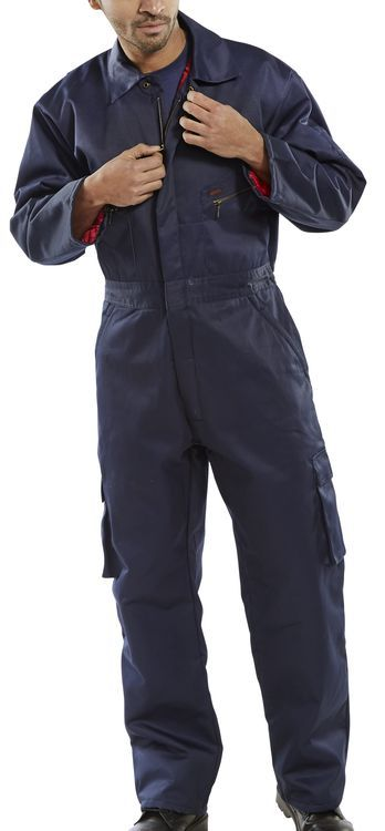Click Workwear Quilted Boiler Suit Overalls Navy