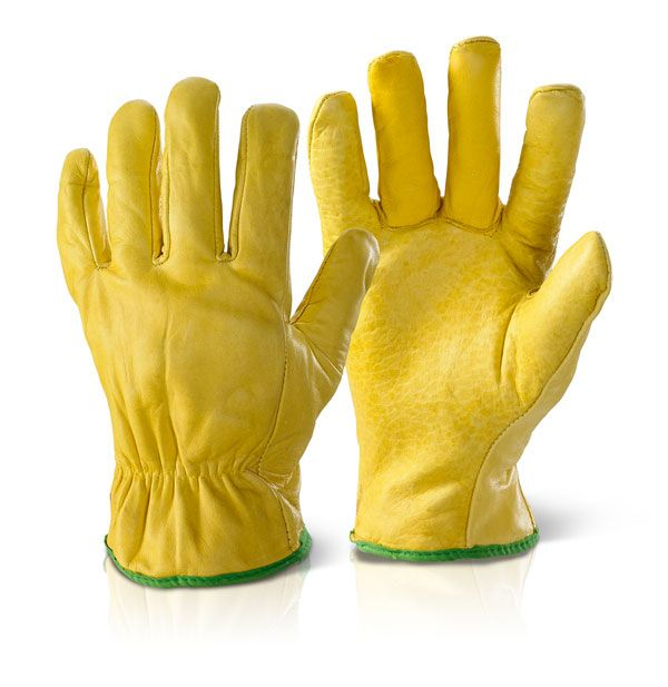 Click Lined Drivers Leather Gloves Yellow