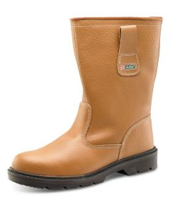 Click S1P Full Safety Steel Toe Cap Leather Lined Rigger Boots Tan
