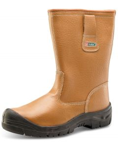 Click S1P Full Safety Steel Scuff Toe Cap Leather Rigger Boots Tan