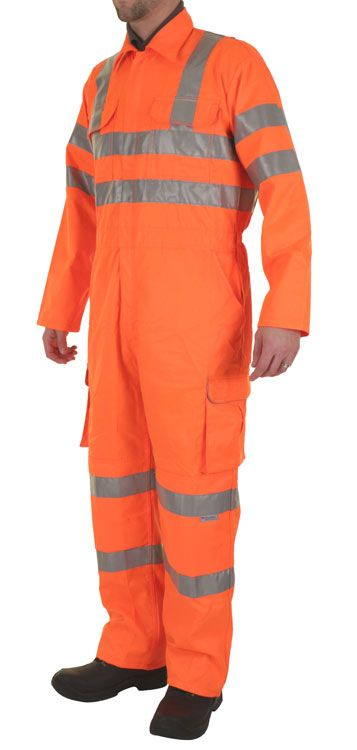 B-Seen Hi-Vis Railway Coverall Overalls Orange