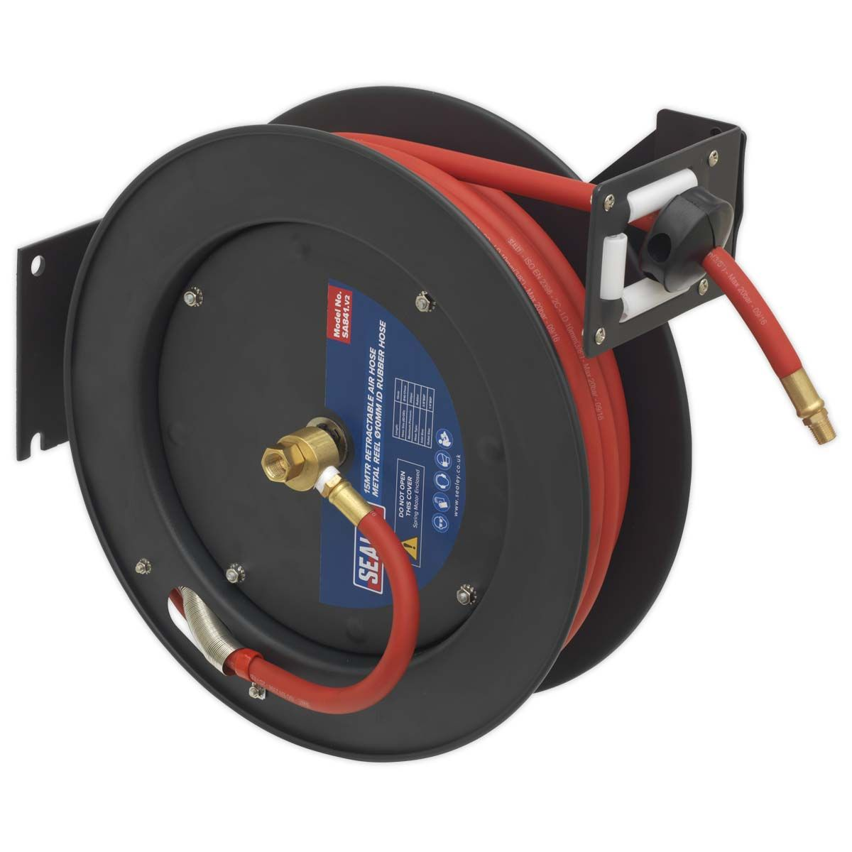 Sealey Retractable Air Hose Metal Reel With Rubber Hose