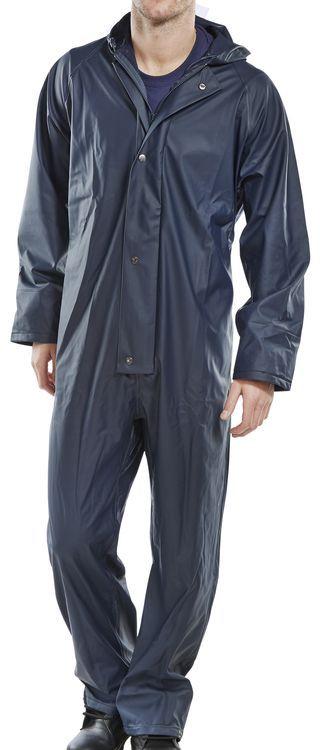 B-Dri Weatherproof Hooded Coverall Overalls Navy