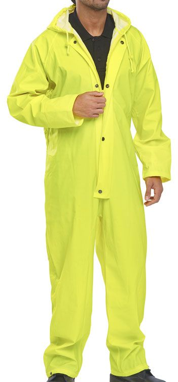 B-Dri Weatherproof Hooded Coverall Overalls Yellow