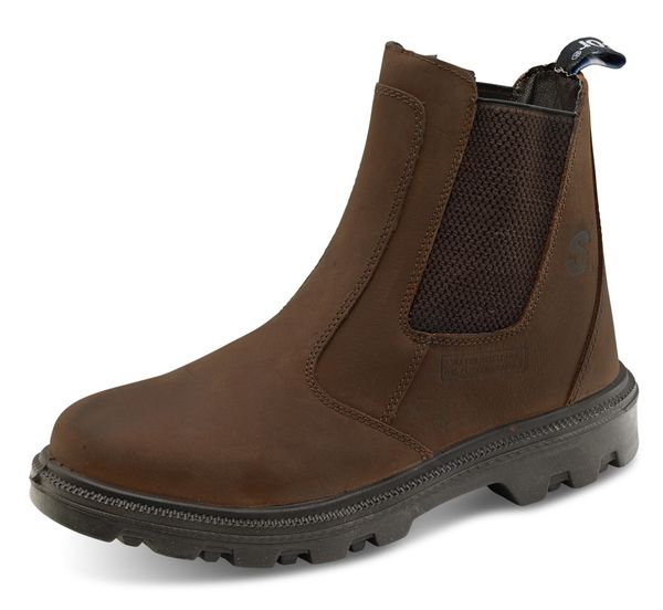 Click S3 Full Safety Steel Toe Cap Sherpa Dealer Leather Boots Brown