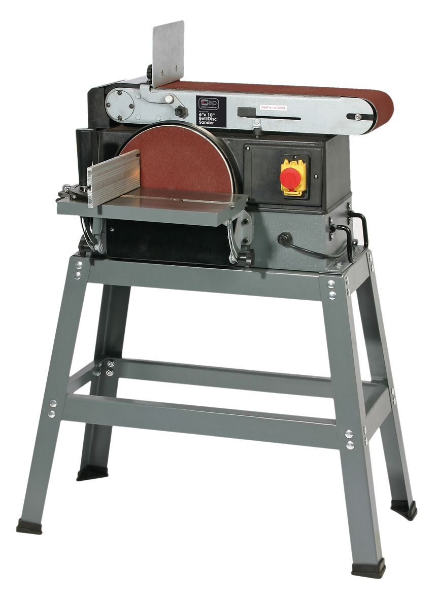 "SIP 6"" X 10"" Belt & Disc Sander With Stand 800W 230V"