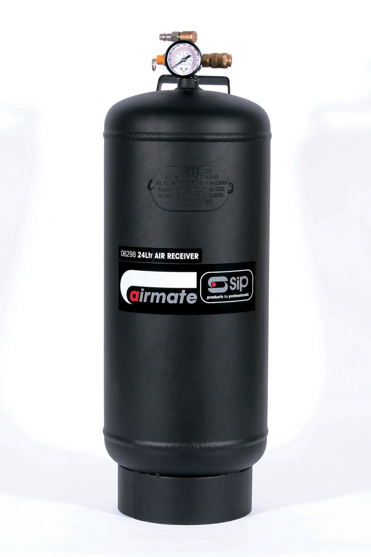 SIP Portable 24 Litre Air Tank With Pressure Gauge