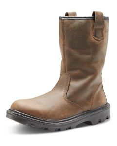 Click S3 Full Safety Steel Toe Cap Sherpa Rigger Leather Boots Brown