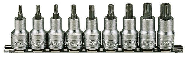 """Teng Tools 9 Piece 1/2"""" Drive TX Bit Socket Clip Rail"""