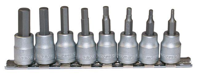 """Teng Tools 8 Piece 3/8"""" Drive AF Hex Bit Socket Clip Rail"""