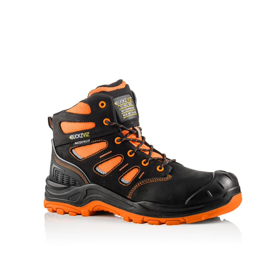 Buckler Buckz Viz BVIZ2 Hi-Viz Orange Full Safety Boots Black