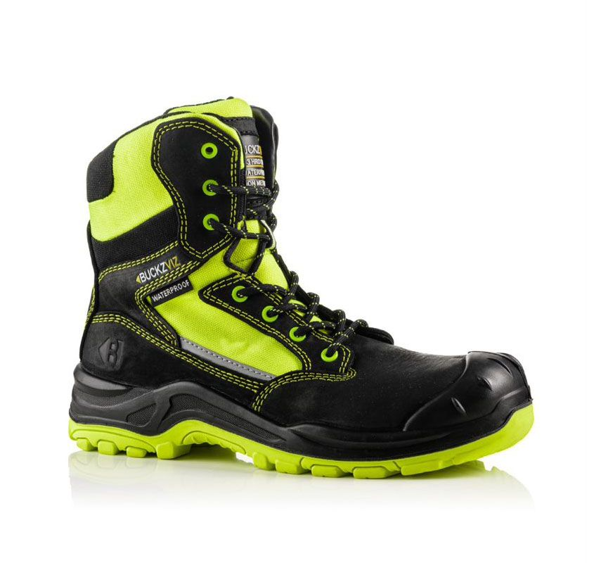 Buckler Buckz Viz BVIZ1 Hi-Viz Yellow High Full Safety Boots Black