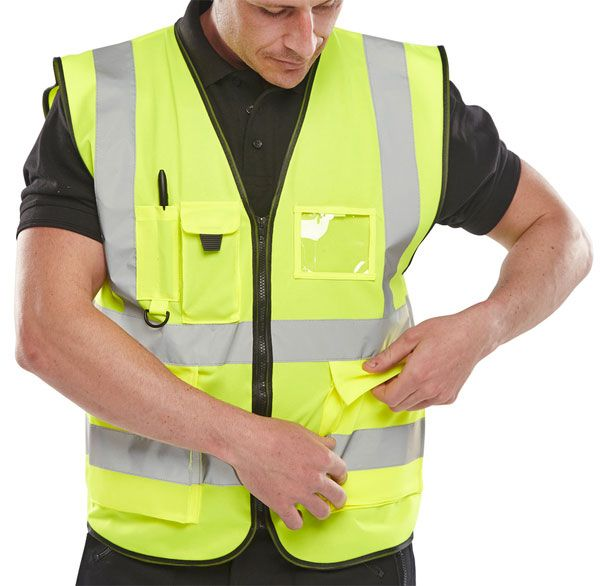 B-Seen Executive Hi-Vis Zipped Vest Waistcoat Saturn Yellow